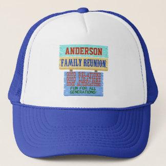 Family Reunion Funny Wooden Sign | Custom Name Trucker Hat
