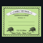 """Family Reunion/Gathering Certificate of Award Flyer<br><div class=""""desc"""">Family Reunion Certificate of Award features vintage style frame and &quot;family&quot; trees. There is space to fill in the award winner name and win category. Suggested family reunion award win categories: oldest, youngest, traveled the least, traveled the farthest, attended most reunions, youngest grandparents, and couple with most children or grandchildren....</div>"""