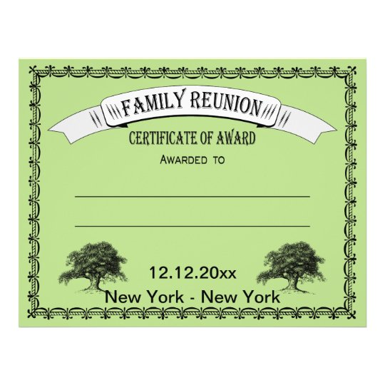 family reunion  gathering certificate of award flyer