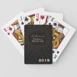"""Family Reunion Gift Black Gold Custom Monogram Playing Cards<br><div class=""""desc"""">Create your own family reunion, monogrammed playing cards- A gold metallic look and faux diamond sparkles frame reads Family Reunion with your personalized last name above it in gold color lettering. Bottom corner has custom year or delete or change text entirely. Elegant, family reunion gift for hobby genealogists and family...</div>"""
