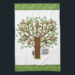 "Family Reunion Hand Towel<br><div class=""desc"">Summer reunion design featuring family tree filled with funny birds. Edit text to add name.</div>"