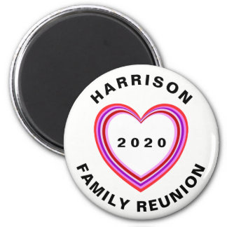 Family Reunion Heart Round Dated Keepsake Gift Magnet