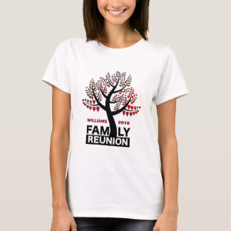 Family Reunion Heart Tree Silhouette Red Leaves T-Shirt