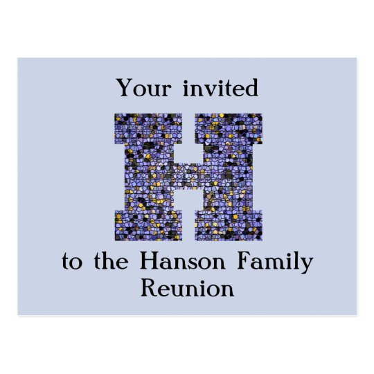 Family Reunion Invitation Letter H Mosaic Monogram Postcard Zazzle Com