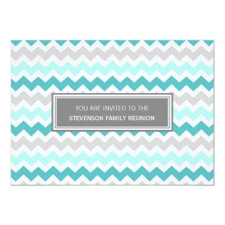 """Family Reunion Invitations Aqua Gray Chevron 5"""" X 7"""" Invitation Card"""