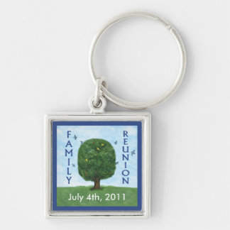 Family Reunion Keepsake Key Ring Silver-Colored Square Keychain
