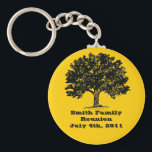 """Family Reunion Keychain<br><div class=""""desc"""">Great souvenirs for your next family reunion. Use the customize button and edit the background color to change the color behind the tree.</div>"""