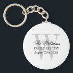 "Family reunion keychains with custom name monogram<br><div class=""desc"">Family reunion keychains with custom name monogram. Classy typography design for family gathering,  thanksgiving get together,  bbq,  Christmas dinner party,  meeting,  weekend event etc. Chic monogrammed initial letter with script text. Also cute token / favor for wedding,  graduation,  bridal shower etc.</div>"