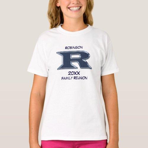 Family Reunion Last Name Letter R Monogram Blue T_Shirt