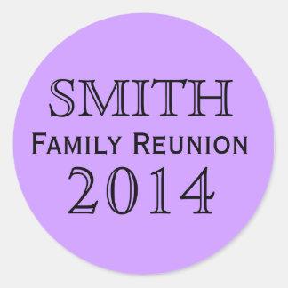 Family Reunion Lavender Background Classic Round Sticker