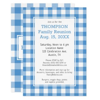 Family Reunion Light Blue Buffalo Check Party Invitation