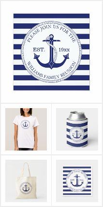 Family Reunion Nautical Anchor Striped