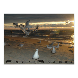 Family Reunion on the Beach Seagull Evening Sunset 4.5x6.25 Paper Invitation Card