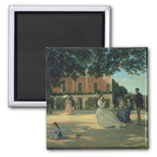 Family Reunion on the Terrace at Meric, 1867 2 Inch Square Magnet