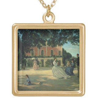 Family Reunion on the Terrace at Meric, 1867 Gold Plated Necklace
