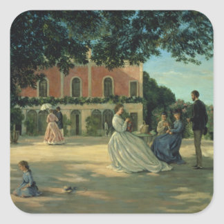 Family Reunion on the Terrace at Meric, 1867 Square Sticker