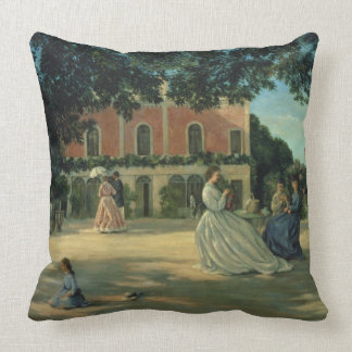Family Reunion on the Terrace at Meric, 1867 Throw Pillow