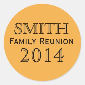 Family Reunion Orange Background Classic Round Sticker