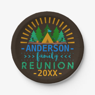 Family Reunion Outdoor Camping Party | Custom Name Paper Plate