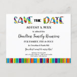 "Family Reunion, Party or Event Fun Save the Date Announcement Postcard<br><div class=""desc"">Fun,  festive party,  reunion or other event Save-the-Date postcard for your next big bash.  Perfect to make friends and family aware of your upcoming birthday party,  retirement party,  graduation party,  family reunion,  friends reunion,  or any big celebration.  See more at Zigglets here at Zazzle.</div>"