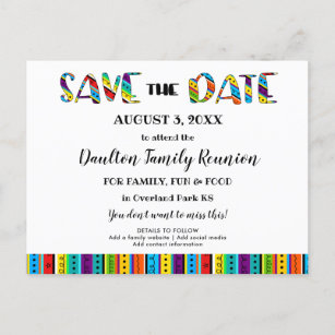 Family Reunion, Party or Event Fun Save the Date Announcement Postcard