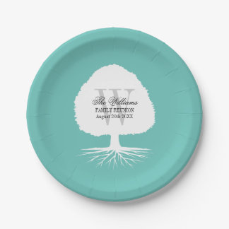 Family reunion party paper plates with monogram 7 inch paper plate
