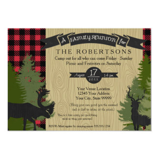 Family Reunion Picnic Campout Rustic Deer Antlers Card