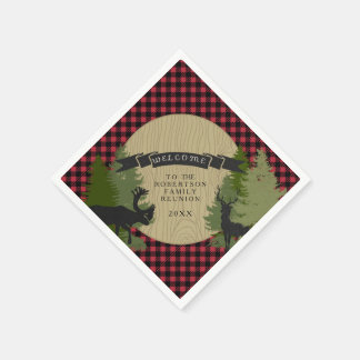 Family Reunion Picnic Deer Antlers Moose Tree Paper Napkin