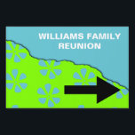 "Family Reunion Pointer Sign<br><div class=""desc"">Cheerful lime green and turquoise family reunion sign shows attendees where to turn to get to the reunion site.</div>"