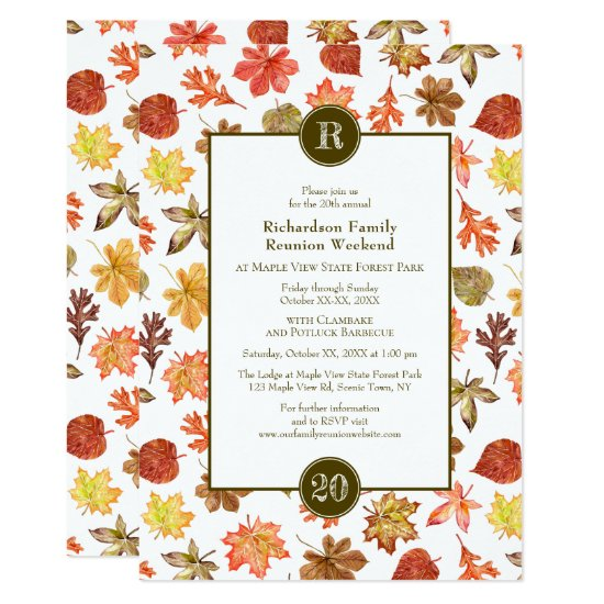 Family Reunion potluck BBQ autumn leaves monogram Invitation