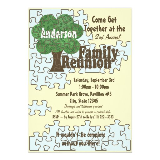 Family Reunion Puzzle Personalized Announcements