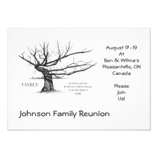 Family Reunion: Quote on Family: Drawing of Tree Invitations