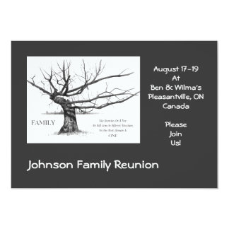 Family Reunion: Quote on Family: Drawing of Tree 5x7 Paper Invitation Card