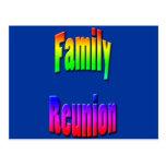 family reunion rainbow text post card