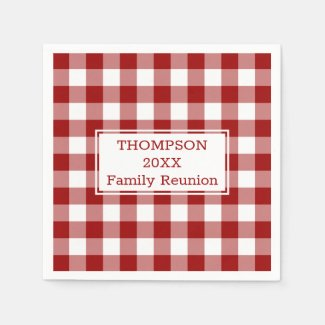 Family Reunion Red and White Buffalo Check Party Napkin