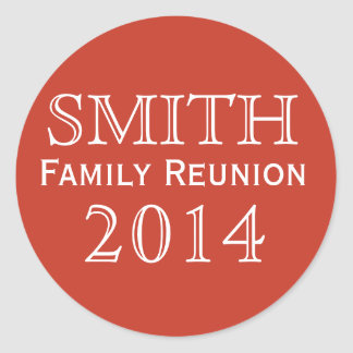 Family Reunion Red Background Classic Round Sticker