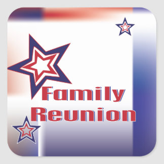 Family reunion red white and blue star design square sticker