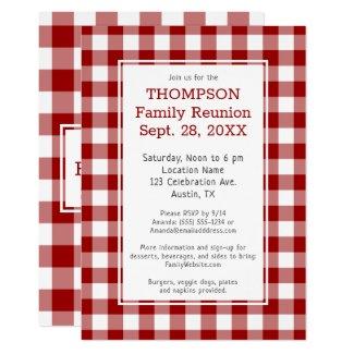 Family Reunion Red White Buffalo Check Party Invitation