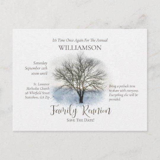 Family Reunion Rustic Tree Hand Letter Script Invitation Postcard
