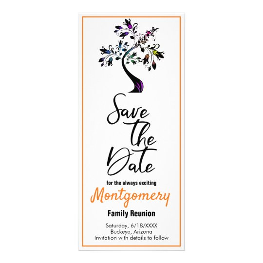 family reunion save the date modern colorful tree rack