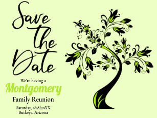 6e4d12f26 Family Reunion Save The Date Modern Green Tree Announcement Postcard