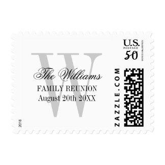 Family reunion stamps with elegant name monogram