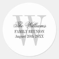 Family reunion stickers with elegant name monogram