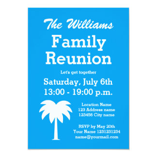 Family reunion summer party palm tree invitations