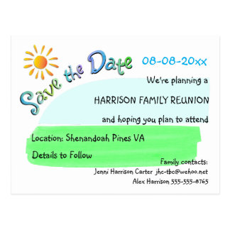 Family Reunion Sunshine Save the Date Postcard