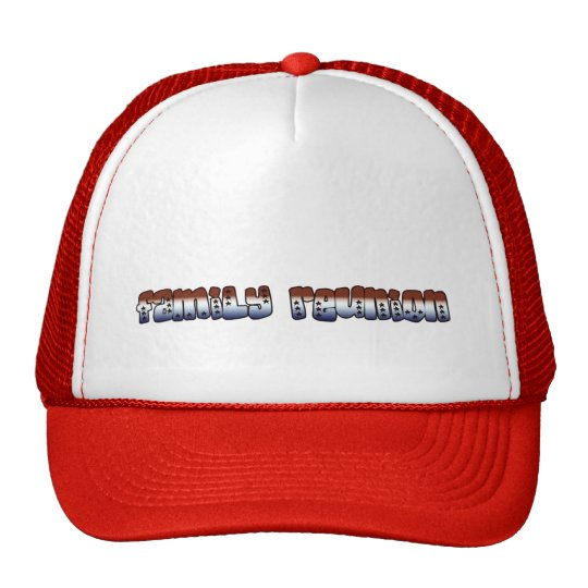 family reunion text red white blue with stars trucker hat