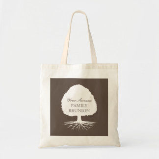 Family reunion tote bags with ancestry tree symbol