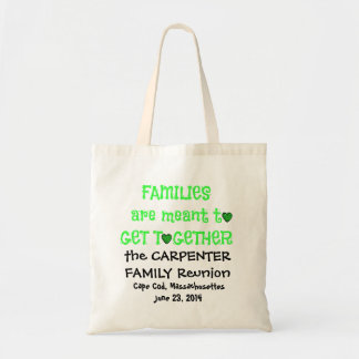 Family Reunion Totes, Black & Lime Green Tote Bag