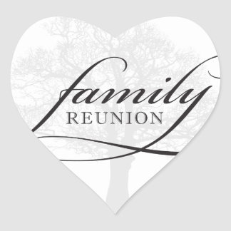 Family Reunion Tree Heart Sticker