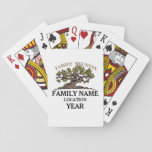 "Family Reunion Tree Playing Cards<br><div class=""desc"">An original illustration by Lauren Ball of an ancient, twisted oak tree, representing the branches and character of your family. This design allows you to customize the family name, the location, and the year. Your family will feel pride as they reconnect with one another, and this design will bring to...</div>"